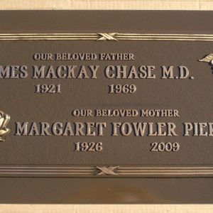 Chase and Pierce Bronze Memorial Gravestone