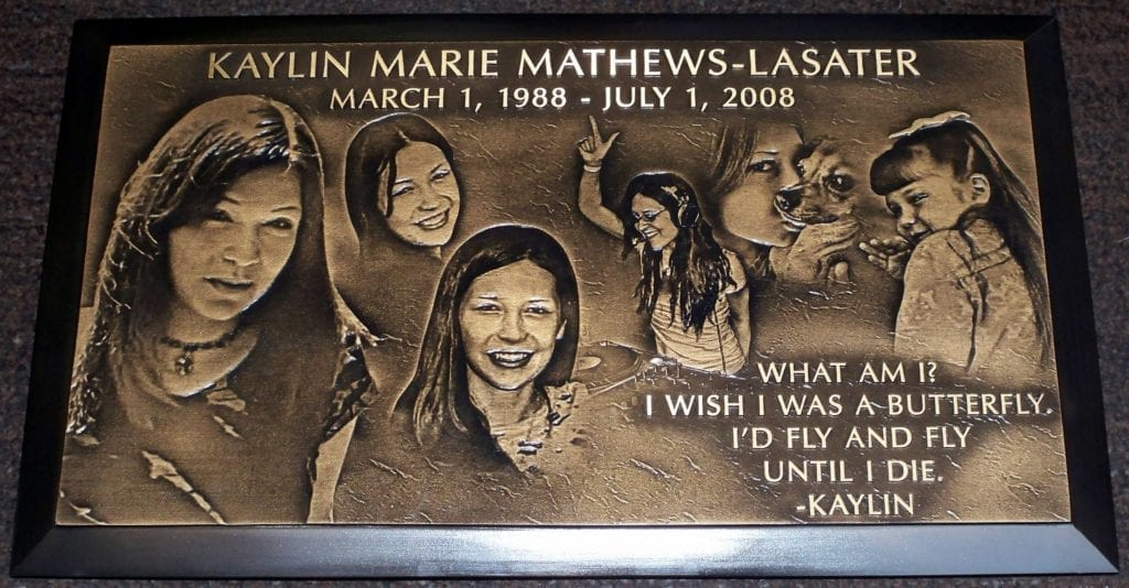 Katylin Marie Bronze Memorial Headstone