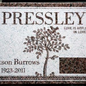 Pressley Tree Flat Grave Marker Example