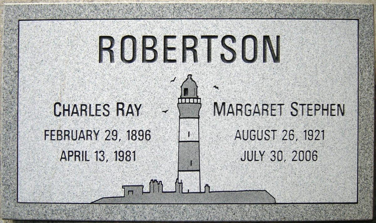 Robertson Lighthouse Flat Gravestone For Two