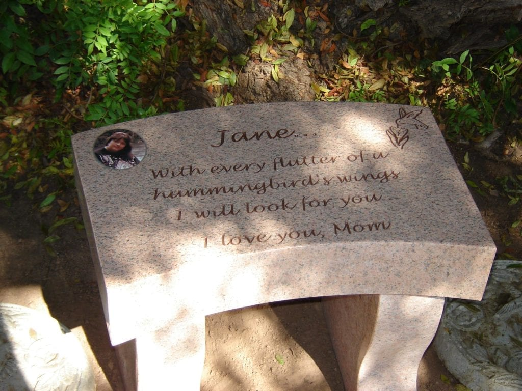 Jane Garden Memorial Bench Grave Marker