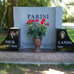 Custom Memorial in Black, Gray, and Red Granite
