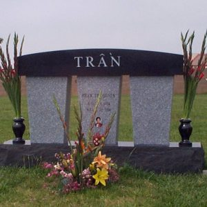 Custom Memorial in Black and Gray Granites