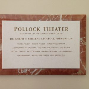 Pollock Theater Memorial Wall Plaque