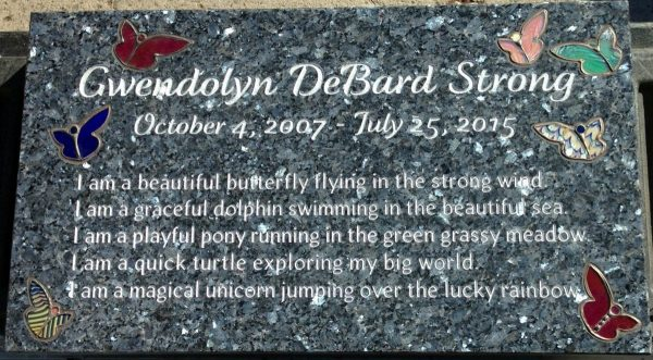 Strong Butterfly Flat Grave Marker